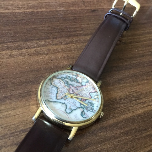 Urban Outfitters World Map Watch.Urban Outfitters Accessories Leather World Map Watch Poshmark